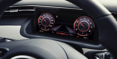 The digital cluster in the all-new Hyundai Tucson Hybrid compact SUV.