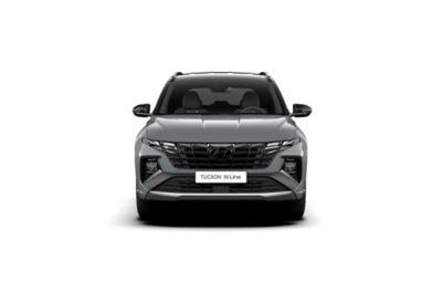 Vue avant de Hyundai TUCSON Hybrid N Line Nouvelle Génération dans sa teinte Shadow Grey.