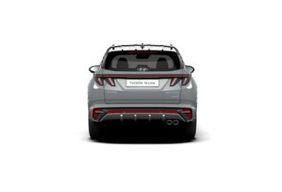 Vue arrière de Hyundai TUCSON Hybrid N Line Nouvelle Génération dans sa teinte Shadow Grey.