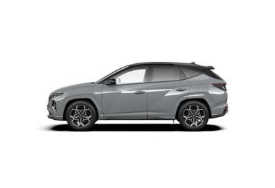 Vue de profil de Hyundai TUCSON Hybrid N Line Nouvelle Génération dans sa teinte Shadow Grey.