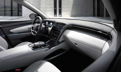 Interior design view of the all-new Hyundai Tucson Hybrid compact SUV's cockpit.