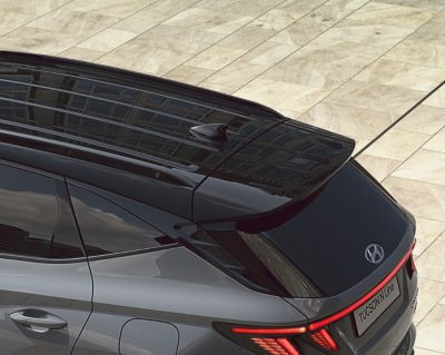 Detail of the rear spoiler of the all-new Hyundai TUCSON Plug-in Hybrid N Line.