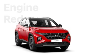 The different color options for the all-new Hyundai Tucson compact SUV: Engine Red.