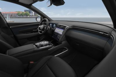 A photo of the sleek interior of the all-new Hyundai Tucson compact SUV.