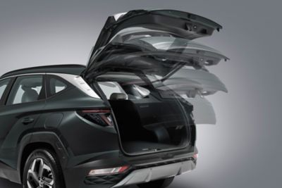 The smart power tailgate allowing easy loading in the all-new Hyundai Tucson compact SUV.