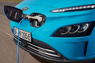 The new Hyundai Kona Electric charging with a AC type 2 charging cable.