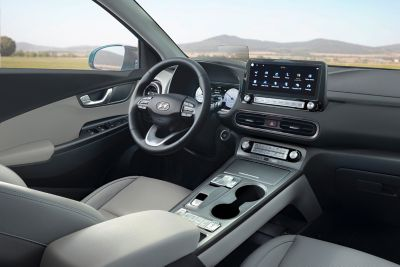 The roomy interior design of the new Hyundai Kona Electric compact SUV .