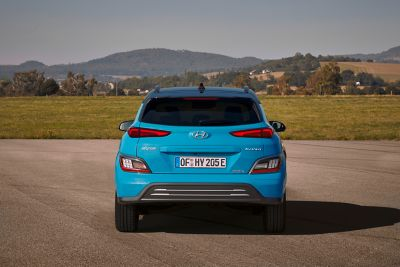The elegant rear bumper of the new Hyundai Kona Electric compact SUV.