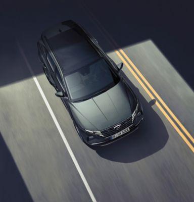 The Lane Following Assist (LFA) in the all-new Hyundai TUCSON Plug-in Hybrid compact SUV.