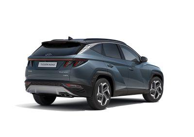 Immagine laterale del SUV compatto Nuova Hyundai TUCSON Hybrid con la sua linea sportiva.