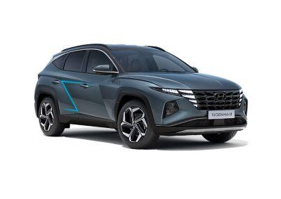 Immagine laterale delle portiere del SUV compatto Nuova Hyundai TUCSON Hybrid.