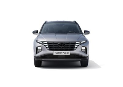 Vista frontale del Nuovo SUV compatto Hyundai TUCSON Plug-in Hybrid.