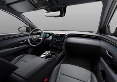 Il design dell'abitacolo interno del Nuovo SUV compatto Hyundai TUCSON Plug-in Hybrid.