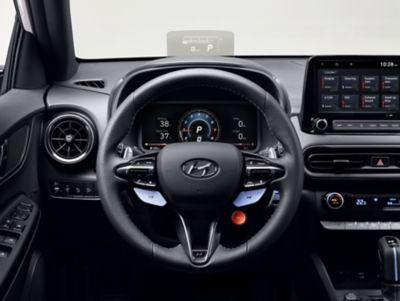 "10.25"" cluster inside the Hyundai KONA N hot SUV"