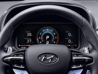 "10.25"" digital cluster inside the Hyundai KONA N hot SUV"