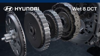 Hyundai in-house developed eight-speed wet-type dual-clutch transmission.
