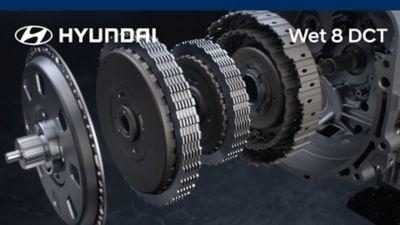 Transmisión de doble embrague de 8 velocidades desarrollada por Hyundai.