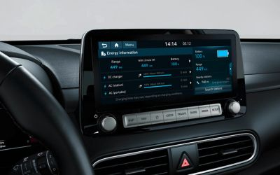 "A photo of the 8"" touch-screen on the all-new Hyundai Kona Electric."