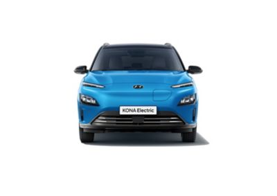Front view of the new Hyundai Kona Electric with its sleek refined new design.