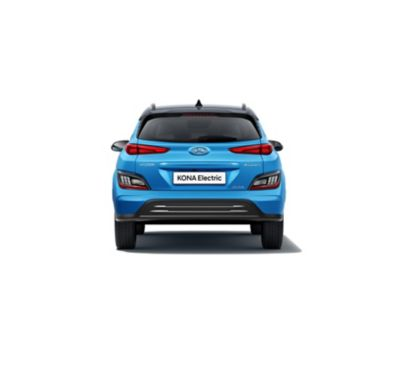 Imagen trasera del nuevo Hyundai KONA Eléctrico con su nuevo parachoques y matrícula.