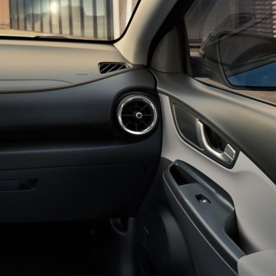 The interior of the new Hyundai Kona Electric in the grey two-tone.