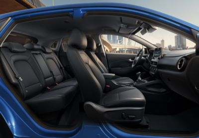 Interior side view of all the seats in the new Hyundai Kona.
