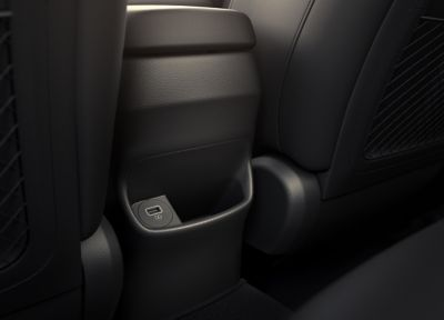 The rear USB port comforting the heated backseats in the new Hyundai Kona.