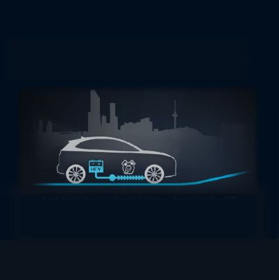 Illustration of the 48V mild hybrid system of the new Hyundai Kona.