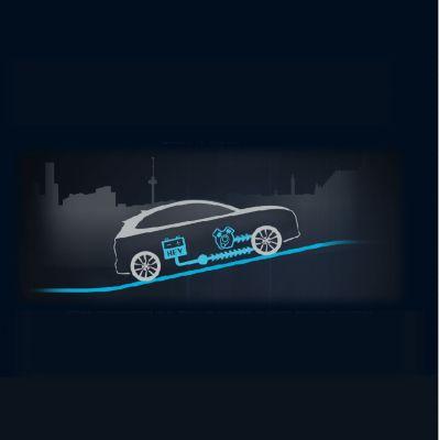 Animación del flujo de energía en aceleración y cuesta arriba del Hyundai KONA Híbrido eléctrico.