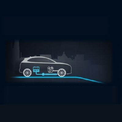 Animación del flujo de energía a velocidad constante del Hyundai KONA Híbrido eléctrico.