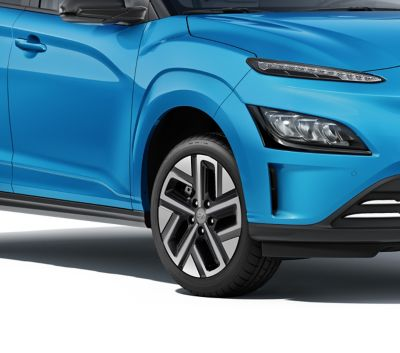 The new Hyundai Kona Electric with the body colour claddings.