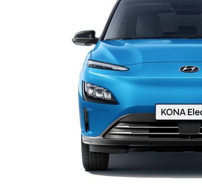 Los nuevos faros LED y la luces LED de conducción diurna del nuevo Hyundai KONA Eléctrico.