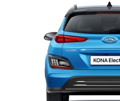 The new sleek tail lamps of new Hyundai Kona Electric.