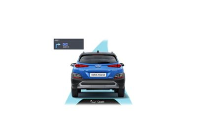 The Coasting Guide predicting deceleration for more efficiency in the new Hyundai Kona Hybrid.