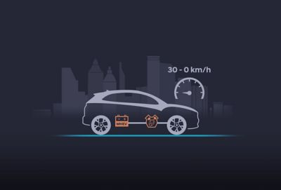 The extended start-stop system of the new Hyundai Kona activating at 30 km/h.