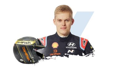 Hyundai Motorsport driver Ott Tänak and his helmet