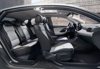 Interior view of the Hyundai i30 Fastback, as seen from the passenger side.
