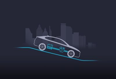 Illustration of the new Hyundai i30 showing the recuperation of the 48V mild hybrid system.