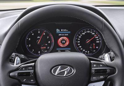 The N steering wheel in the all-new Hyundai i30 N.