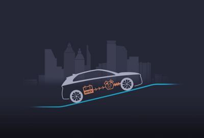 Illustration of the new Hyundai i30 showing the acceleration of the 48V mild hybrid system.