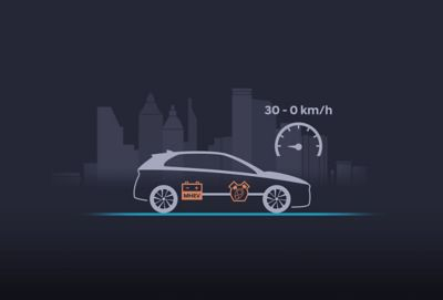 Illustration of the new Hyundai i30 showing the extended start-stop functionality of the 48V mild hybrid system.