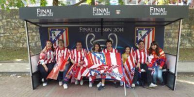 A group of Atlético de Madrid fans at the 2014 UEFA Champions League final.