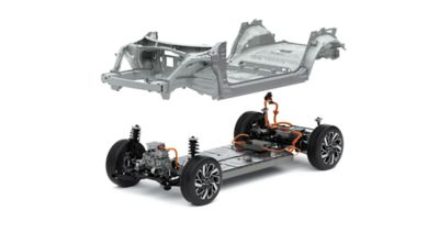 Hyundai'snew Electric Global Modular Platform (E-GMP) shown with an suspended frame above it.