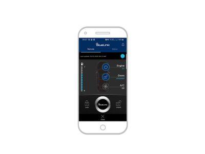 screenshot di app bluelink su iPhone: sblocco auto