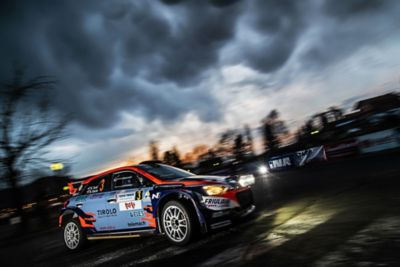 The Hyundai i20 R5 during a race.