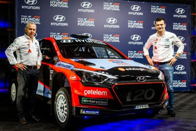Hyundai Motorsport  rally car i20 pictured at a presentation for Rally Portugal.