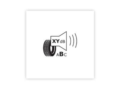 Immagine dell'icona del rumore esterno di rotolamento presente sulle nuove etichette degli pneumatici