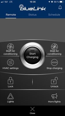 Image of the bluelink app showing the remote charging start/stop function.