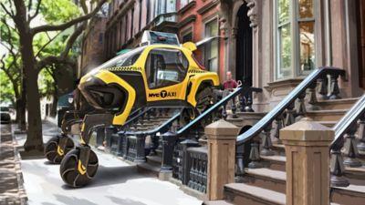 Elevare l'auto che cammina diventa un taxi