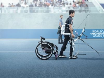Paralympic athlete Jun-beom Park walking with his Hyundai robotic legs during a competition